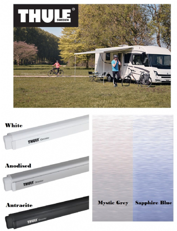 Thule Omnistor 4900 Wall-Mounted Awning - White, Anodised & Antracite